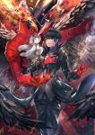 1boy arsene_(persona_5) black_hair chains fire gloves hat highres kurusu_akira looking_at_viewer male_focus mask persona persona_5 sagta_panggang short_hair smile solo top_hat wings