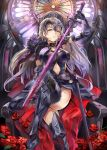 armor armpits black_legwear blonde_hair breasts cape cleavage dress eyebrows_visible_through_hair fate/grand_order fate_(series) flower groin himuro_(dobu_no_hotori) holding holding_sword holding_weapon jeanne_alter leggings legs_crossed looking_at_viewer open_mouth petals purple_dress red_cape rose rose_petals ruler_(fate/apocrypha) sheath sitting sword teeth throne weapon yellow_eyes