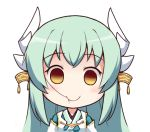 1girl bangs blue_hair blush chibi empty_eyes eyebrows_visible_through_hair fate/grand_order fate_(series) hair_in_mouth horn_ornament horns japanese_clothes kimono kiyohime_(fate/grand_order) langbazi long_hair looking_at_viewer simple_background smile solo white_background yellow_eyes