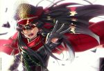 1girl black_hair black_hat cape demon_archer fate/grand_order fate_(series) floating_hair gloves grey_gloves hair_between_eyes hat long_hair military military_hat military_uniform open_mouth red_cape red_eyes simple_background solo uniform upper_body very_long_hair white_background y6m9e_kasabuta