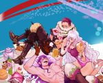 1girl 2boys abs artist_request barefoot biscuit black_hair blue_eyes bodysuit boots breasts brother_and_sister cake charlotte_cracker charlotte_katakuri charlotte_smoothie cleavage cup curly_hair doughnut food fur_trim gloves hair_over_one_eye highres juice juice_box living_(pixiv5031111) long_hair multiple_boys one_piece pillow purple_hair scar shirtless siblings sitting tattoo teacup teapot teeth violet_eyes