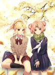 2girls artist_name artoria_pendragon_(all) autumn autumn_leaves bag bag_charm bangs berserker_of_black black_legwear blonde_hair blue_eyes blurry bow braid buttons cardigan character_doll charm_(object) day depth_of_field double_bun fate/apocrypha fate_(series) ginkgo ginkgo_leaf green_eyes hair_ornament headgear heterochromia highres horn lens_flare long_sleeves looking_at_viewer multiple_girls neckerchief outdoors parted_bangs parted_lips pink_hair plaid plaid_neckwear plaid_skirt pleated_skirt ponytail rosuuri saber_lion saber_of_red scarf school_bag school_uniform short_hair sidelocks sitting skirt sleeves_rolled_up smile socks sparkle standing sunlight tree v_arms white_neckwear wing_collar yellow_eyes