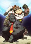animal ape armor bodysuit cosplay donkey_kong donkey_kong_(cosplay) donkey_kong_(series) glasses gorilla highres mario_(series) necktie onichan-xd open_mouth overwatch power_armor smile space super_mario_bros. super_smash_bros. winston_(overwatch) winston_(overwatch)_(cosplay)
