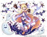 1girl :d animal_ears animal_print arm_up armband bandage bandaged_leg bare_shoulders bat bat_print bat_wings blonde_hair center_opening collarbone crescent fake_animal_ears fang frilled_swimsuit frills full_body ghost gloves graveyard head_tilt head_wings jack-o'-lantern kai-ri-sei_million_arthur kona_(canaria) long_hair looking_at_viewer multicolored multicolored_eyes navel official_art one-piece_swimsuit open_mouth orange_eyes outstretched_arm paw_gloves paw_shoes paws print_legwear purple_legwear purple_ribbon purple_swimsuit purple_wings ribbon shoes smile solo sparkle standing standing_on_one_leg star strapless strapless_swimsuit swimsuit tail thigh-highs tombstone very_long_hair violet_eyes wings wolf_ears wolf_tail
