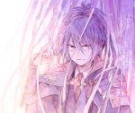 1boy armor cape fudou_yukimitsu japanese_armor kiwame_(touken_ranbu) male_focus necktie noeru_(putty) ponytail purple purple_hair smile sode touken_ranbu violet_eyes
