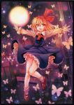 1girl ascot black_border black_dress blonde_hair border butterfly commentary_request dress frills long_sleeves looking_at_viewer moon mosho night open_mouth outstretched_arms red_eyes red_neckwear red_ribbon ribbon rumia short_hair socks solo touhou white_legwear wide_sleeves