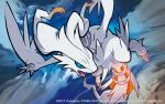 blue_eyes no_humans official_art pokemon pokemon_(creature) pokemon_(game) pokemon_card pokemon_trading_card_game reshiram tokiya