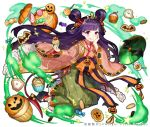 1girl candy cookie crown cupcake food food_themed_hair_ornament hair_ornament hair_rings hand_on_own_cheek holding holding_food jack-o'-lantern japanese_clothes jewelry kimono licking_lips lollipop long_hair looking_at_viewer necklace official_art pumpkin pumpkin_hair_ornament purple_hair shirako_miso shoumetsu_toshi_2 solo sweets tongue tongue_out very_long_hair violet_eyes watermark wide_sleeves wrapped_candy