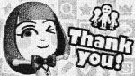 absurdres annotation_request bangs blunt_bangs bow bowtie collaboration collage commentary english highres incredibly_absurdres mii_(nintendo) miiverse monochrome nintendo one_eye_closed outstretched_arms smile thank_you
