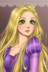 1girl absurdres artist_name bangs blonde_hair blush collarbone freckles green_eyes highres juliet_sleeves lips long_hair long_sleeves mari945 open_mouth puff_and_slash_sleeves puffy_sleeves rapunzel_(disney) ribbon sidelocks solo sparkle tangled teeth upper_body very_long_hair