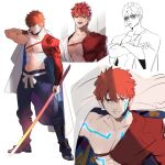 1boy bare_chest character_sheet emiya_shirou fate/grand_order fate_(series) glowing_tattoo igote juer1004 limited/zero_over male_focus orange_hair sword weapon yellow_eyes