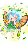 1girl :d ^_^ antennae blue_hair blush_stickers butterfly_wings chibi closed_eyes dress eternity_larva hands_on_own_cheeks hands_on_own_face head_wreath highres leaf natsune_ilasuto open_mouth short_hair smile solo sparkle touhou wings