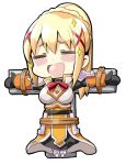 1girl armor armored_boots armored_dress bangs belt black_bodysuit blush_stickers bodysuit boots bound bound_arms bound_legs bracer braid breastplate chibi closed_eyes commentary_request cross crown_braid crucifixion darkness_(konosuba) dot_nose dress ekakibito eyebrows_visible_through_hair eyes_visible_through_hair facing_viewer fantasy faulds full_body hair_ornament head_tilt high_collar kono_subarashii_sekai_ni_shukufuku_wo! long_hair long_sleeves open_mouth orange_dress parted_bangs ponytail restrained rope simple_background solo solo_focus sparkle spaulders tied_up white_background x_hair_ornament |d