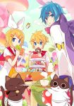 1girl 2boys :3 apron blonde_hair blue_eyes bow brother_and_sister butterfly cat clouds collar cup cupcake dessert doughnut dress eating food hair_between_eyes hair_ornament hair_ribbon hairclip headband holding holding_cup holding_food kagamine_len kagamine_rin kaito looking_at_viewer looking_back macaron multiple_boys mushroom nail_polish neck_ribbon open_mouth outdoors pants plate polka_dot ribbon sailor_collar scarf scarf_bow short_hair short_sleeves siblings sitting sleeves_past_wrists steam striped table teacup teapot twins vocaloid yoshiki