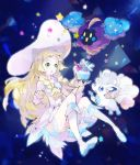1girl alola_form alolan_vulpix bag blonde_hair braid cosmog dress green_eyes hat kantarou_(8kan) lillie_(pokemon) long_hair open_mouth pokemon pokemon_(anime) pokemon_(creature) pokemon_(game) pokemon_sm pokemon_sm_(anime) sleeveless sleeveless_dress star sun_hat twin_braids white_dress white_hat