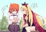 2girls ahoge bangs belt black_nails blonde_hair blush cellphone dated earrings ereshkigal_(fate/grand_order) fate/grand_order fate_(series) fujimaru_ritsuka_(female) hair_between_eyes iphone jewelry multiple_girls nail_polish open_mouth orange_eyes orange_hair pantyhose phone raki_(kuroe) red_eyes scrunchie side_ponytail sitting sky smartphone tohsaka_rin translation_request tree twintails twitter_username