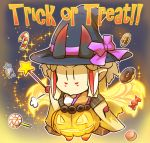 1girl adapted_costume alternate_costume blonde_hair candy candy_cane chibi comic commentary cookie doughnut facial_mark fate/grand_order fate_(series) food glowing halloween hat hisahiko holding ibaraki_douji_(fate/grand_order) lollipop long_sleeves looking_at_viewer macaron multicolored_hair oni_horns pointy_ears pumpkin_costume redhead revision sidelocks solo star star_wand trick_or_treat wand wide_sleeves witch_hat |_|