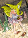1girl animal_ears bag bangs barefoot bench between_toes blonde_hair blush bright_pupils commentary_request creature day doitsuken dress drinking_cup drinking_straw eating feet food food_in_mouth fox_child_(doitsuken) fox_tail from_above hamburger hand_up highres looking_at_viewer multiple_tails neck_ribbon no_socks original outdoors red_neckwear red_ribbon ribbon sandals sandals_removed shoes_removed short_eyebrows short_hair short_sleeves sipping sitting tail thick_eyebrows thumb_sucking toes two_tails white_dress yellow_eyes