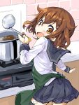 1girl :d apron bad_anatomy bad_hands black_legwear black_skirt brown_eyes brown_hair darkside fang green_apron hair_between_eyes ikazuchi_(kantai_collection) kantai_collection ladle long_sleeves open_mouth pleated_skirt school_uniform serafuku short_hair skirt smile solo thigh-highs