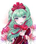 1girl bow commentary_request corset dress frilled_sleeves frills green_eyes green_hair hair_bow hair_ribbon highres ichita_(yixisama-shihaohaizhi) kagiyama_hina long_hair looking_at_viewer parted_lips puffy_short_sleeves puffy_sleeves red_bow red_dress red_flower ribbon short_sleeves smile solo touhou