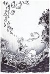 1girl absurdres coral dated fish greyscale headwear_removed helmet helmet_removed highres ian_samson ink_(medium) mermaid monochrome monster_girl octopus robot rockman rockman_9 school_of_fish smile solo splash_woman traditional_media treasure_chest underwater