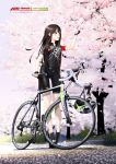1girl bicycle bicycle_helmet bike_jersey black_gloves blush brown_hair cannondale cherry_blossoms day fingerless_gloves full_body gloves gluteal_fold green_eyes ground_vehicle headwear_removed helmet helmet_removed high_heels highres hitomi_kazuya idolmaster idolmaster_cinderella_girls long_hair open_mouth outdoors petals shibuya_rin smile solo standing