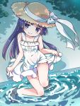 1girl amimi bangs barefoot blunt_bangs dress gokou_ruri hat long_hair looking_at_viewer mole mole_under_eye ore_no_imouto_ga_konna_ni_kawaii_wake_ga_nai purple_hair sitting smile soaking_feet solo sun_hat violet_eyes water white_dress