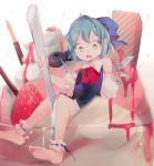 1girl arm_support bare_legs bare_shoulders barefoot blue_dress blue_eyes blue_hair blueberry bow cirno cup d: dress eyebrows_visible_through_hair food fruit full_body hair_bow highres holding ice ice_cream ice_wings leo_(mewibos) looking_down open_mouth pocky puffy_short_sleeves puffy_sleeves red_ribbon ribbon short_hair short_sleeves shoulder_cutout sitting solo spoon strawberry strawberry_syrup sundae touhou wafer wafer_stick whipped_cream wings