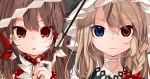 2girls absurdres black_hat blonde_hair blue_eyes bow braid brown_eyes brown_hair close-up gohei gotoh510 hair_bow hair_tubes hakurei_reimu hat heterochromia highres kirisame_marisa looking_at_viewer multiple_girls nail_polish parted_lips portrait red_bow red_eyes red_nails shide side_braid touhou