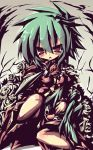 1girl asellus_(saga_frontier) breasts dangomushi flower green_hair monster red_turnip rose saga saga_frontier short_hair sword turnip weapon