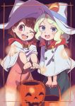 >:d >;d 2girls :d ;d absurdres bangs black_dress blonde_hair blue_eyes blush blush_stickers border brown_eyes brown_hair capelet commentary_request diana_cavendish dress halloween halloween_costume hat highres jack-o'-lantern kagari_atsuko little_witch_academia long_hair looking_at_viewer multiple_girls one_eye_closed open_mouth outstretched_arms pink_dress round_teeth short_hair smile standing tama tareme teeth wavy_hair white_hat witch witch_hat younger