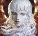 1boy bangs berserk blue_eyes buchuo_liu closed_mouth eclipse griffith long_hair looking_at_viewer male_focus pale_skin red_lips smile solo white_hair