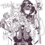 1boy 2girls alfonse_(fire_emblem) animal_ears bell bow broom cat_ears cat_paws cat_tail chains closed_eyes cosplay crown cuffs fire_emblem fire_emblem_heroes frankenstein's_monster frankenstein's_monster_(cosplay) greyscale halloween halloween_costume handcuffs hat insarability long_hair monochrome multiple_girls open_mouth paws sharena short_hair simple_background skirt smile tail tail_bell tail_bow trick_or_treat veronica_(fire_emblem) white_background