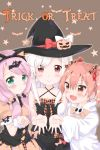 3girls :> :d animal_ears arm_grab bangs bare_arms bare_shoulders bat bat_hair_ornament beige_bow beige_shirt beige_skirt black_bow black_dress black_hat blush bow brown_background brown_eyes brown_hair candy_hair_ornament candy_wrapper cat_ears closed_mouth collarbone commentary_request criss-cross_halter dress eyebrows_visible_through_hair fake_animal_ears food_themed_hair_ornament girl_sandwich green_eyes hair_between_eyes hair_ornament hair_over_shoulder hair_scrunchie halloween halloween_costume halterneck hands_in_sleeves hat heart highres hood hood_down hoodie jack-o'-lantern long_hair long_sleeves looking_at_viewer low_twintails multiple_girls open_mouth original outstretched_arm pink_hair plaid plaid_bow puffy_short_sleeves puffy_sleeves red_bow sandwiched scrunchie shirt short_sleeves sidelocks skirt skull sleeveless sleeveless_dress smile star starry_background tears trick_or_treat twintails uchuuneko white_bow white_hair white_hoodie witch_hat wrist_cuffs