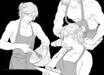 1boy apron black_background cutting_board downblouse downcast_eyes ensemble_stars! greyscale half_updo male_focus mikejima_madara mixing_bowl monochrome multiple_views naked_apron nipples simple_background tasting whisk
