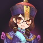 1girl alternate_costume atobesakunolove bangs black-framed_eyewear blood blue_hat blush_stickers brown_eyes brown_hair chinese_clothes claws dress dressing eyelashes facebook_username fangs glasses gradient gradient_background hair_ornament hair_tie hand_to_own_mouth hat head_tilt highres jiangshi jiangshi_mei looking_at_viewer low_twintails medium_hair mei_(overwatch) ofuda open_mouth overwatch purple_dress rope sleeves_past_wrists smile solo twintails upper_body watermark web_address