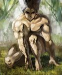 1boy black_hair gon-san gon_freecss grass hunter_x_hunter long_hair looking_at_viewer marimoppoi muscle shaded_face solo tree very_long_hair