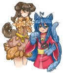 2girls :3 :o absurdres ahoge animal_ears bare_shoulders bell blue_hair blush brown_hair cat_ears commentary_request cosplay cowboy_shot dog_ears dog_tail dress eyebrows_visible_through_hair fan fang fang_out fur green_eyes hair_between_eyes hand_on_hip hands_up heart_ahoge hhhori highres japanese_clothes jingle_bell kimono kobold_(monster_girl_encyclopedia) kobold_(monster_girl_encyclopedia)_(cosplay) long_hair long_sleeves looking_at_viewer mole mole_under_eye monster_girl monster_girl_encyclopedia multiple_girls nekomata_(monster_girl_encyclopedia) nekomata_(monster_girl_encyclopedia)_(cosplay) obi paper_fan parted_lips paws pink_kimono sash signature simple_background slit_pupils smile standing tail white_background wide_sleeves yellow_eyes
