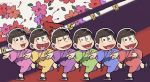 6+boys black_hair brothers chibi dated geta half-closed_eyes hanafuda heart heart_in_mouth highres japanese_clothes jikuno kimono looking_at_viewer male_focus matsuno_choromatsu matsuno_ichimatsu matsuno_juushimatsu matsuno_karamatsu matsuno_osomatsu matsuno_todomatsu messy_hair multiple_boys osomatsu-kun osomatsu-san siblings smile yukata