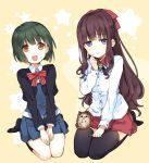 2girls :d bangs blonde_hair blue_eyes blunt_bangs blush bow bowtie brown_eyes brown_hair commentary_request crossover embarrassed eyebrows_visible_through_hair hair_ribbon hedgehog kin-iro_mosaic long_hair looking_at_viewer looking_away multiple_girls nakayama_miyuki new_game! oomiya_shinobu open_mouth pleated_skirt ribbon school_uniform seiza shirt short_hair sitting skirt smile socks soujirou_(new_game!) star starry_background takimoto_hifumi thigh-highs wavy_mouth yellow_background zettai_ryouiki