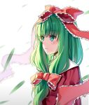 1girl absurdres aer_(tengqiu) bow dress front_ponytail green_eyes green_hair hair_bow hair_ribbon highres kagiyama_hina long_hair red_dress ribbon solo touhou upper_body