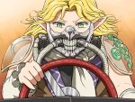 1girl blonde_hair driving eyebrows_visible_through_hair face_mask fusion green_eyes immortan_joe long_hair looking_at_viewer mad_max mad_max:_fury_road mask mizuhashi_parsee pointy_ears scarf shirosato shoulder_pads solo touhou upper_body white_scarf wide-eyed