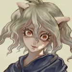 :3 androgynous animal_ears brown_background cat_ears eyelashes hunter_x_hunter lips looking_at_viewer marimoppoi neferpitou red_eyes short_hair simple_background solo