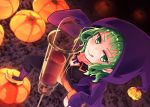 1girl :p black_legwear black_skirt blood blush breasts cleavage collarbone from_above green_eyes green_hair gumi halloween halloween_costume highres hood hooded_jacket jacket kneehighs looking_at_viewer medium_breasts neck_ribbon open_clothes open_jacket orange_shorts pumpkin purple_jacket ribbon shorts skirt solo standing_on_object syringe thigh-highs tongue tongue_out very_long_sleeves vocaloid witch yellow_footwear