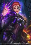 1girl artist_name aura breasts energy facial_mark looking_at_viewer moira_(overwatch) nail_polish nudtawut_thongmai overwatch parted_lips red_eyes redhead short_hair signature smile solo