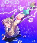 closed_eyes hat ibuki_fuuko kurohara_yuu long_hair pantyhose school_uniform star stars