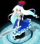 dress gengorou hat kamishirasawa_keine long_hair looking_back magatama magic_circle sword touhou weapon white_hair
