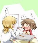 brown_hair hazuki_haru hidamari_sketch kotatsu miyako paper pencil short_hair table translated wide_face wideface wooden_pencil yuno