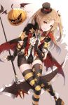 1girl azur_lane brown_eyes cape cleveland_(azur_lane) elbow_gloves fingerless_gloves gloves hair_ornament hat jack-o'-lantern light_brown_hair limeblock long_hair looking_at_viewer mini_hat mini_top_hat one_side_up parted_lips pointy_ears scythe shorts smile sunglasses thigh-highs top_hat zettai_ryouiki