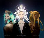 androgynous arkenstone beard blonde_hair crossover crystal_hair dark_skin facial_hair fusion green_hair houseki_no_kuni long_hair looking_at_viewer lord_of_the_rings personification silmarillion silver_hair the_hobbit the_one_ring upper_body
